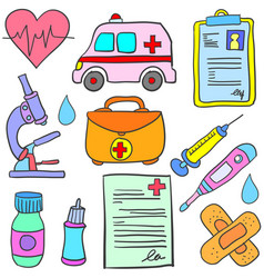Doodle of element medical colorful style vector