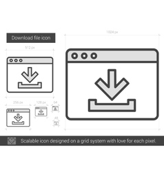 Download file line icon vector image