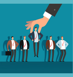Employer hand choosing man from selected group vector