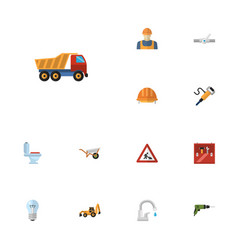 Flat icons van faucet pipeline valve and other vector