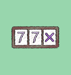Flat shading style icon slot machine two sevens vector