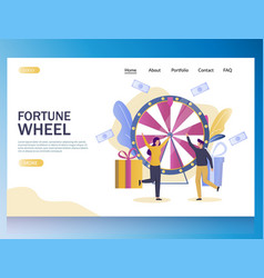 fortune wheel website landing page design vector image