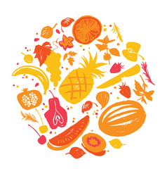 Fruit silhouettes in yellow-red shadows vector