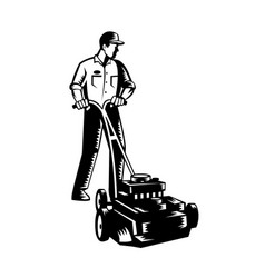 gardener mowing with lawnmower front view woodcut vector image