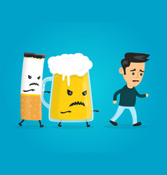 glass of beer and cigarette chasing a man vector image