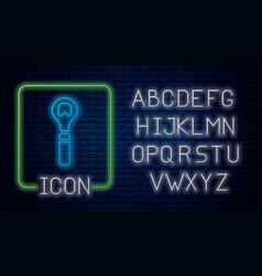 Glowing neon bottle opener icon isolated on brick vector