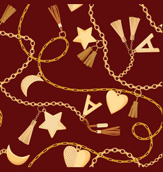 golden chains straps and charms seamless pattern vector image