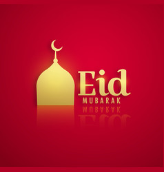 Golden mosque on red background for eid festival vector