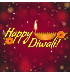 Greeting card for Diwali with diya decoration vector image