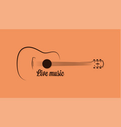 guitar logo live music on yellow background vector image