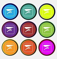Hang-gliding icon sign Nine multi colored round vector