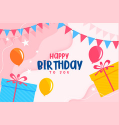 Happy birthday flat card with balloons and gift vector