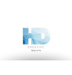 Hd h d blue polygonal alphabet letter logo icon vector