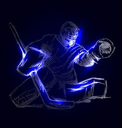 Hockey goalie on a dark background vector