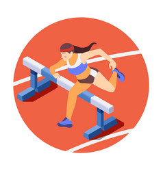 hurdling isometric composition vector image