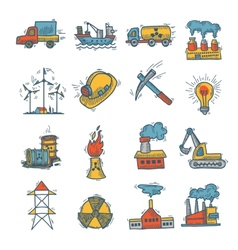 Industrial sketch icon set vector image