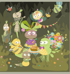 insects celebrate birthday bright childrens vector image