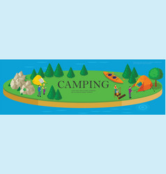 isometric camping and hiking template vector image
