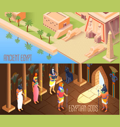 Isometric egypt banners vector