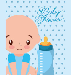 Its a boy baby and feeding bottle card vector