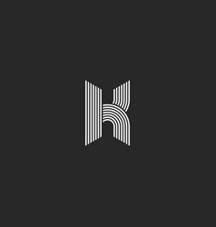 k letter logo monogram mockup black and white vector image