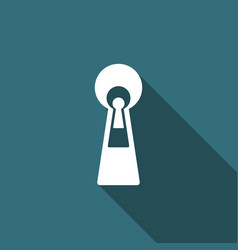 Keyhole icon isolated with long shadow vector