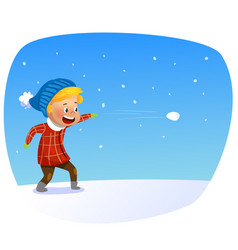 Kid playing in the snow child throws snowballs vector