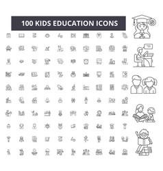 Kids education editable line icons 100 set vector