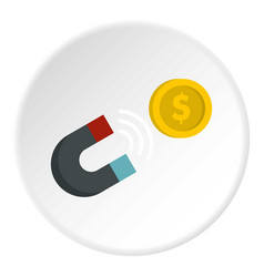 Magnet with coin icon circle vector