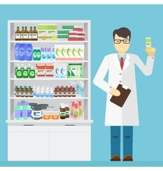 Male pharmacist holding in the hands of the vector image