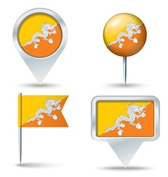 Map pins with flag of Bhutan vector