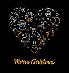 merry christmas heart outline xmas vector image