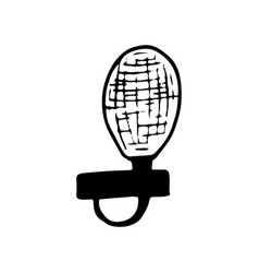 Microphone icon sticker sketch hand drawn doodle vector