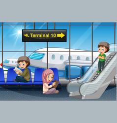 Muslim passenger at airport vector