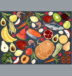 natural products delicious vegetables fruits vector image