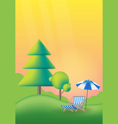 nature summer landscape with green trees lawn vector image