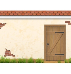 Old wall grass and wooden door vector