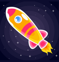 orange with pink stripes space rocket with vector image