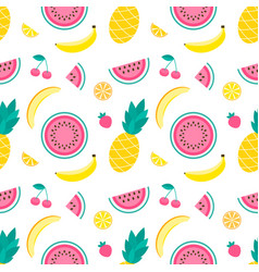 Pattern with pineapple lemon melon watermelon vector