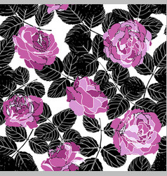 peonies or roses and leaves floral pattern vector image