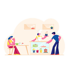 People visiting cafe or bakehouse saleswoman in vector
