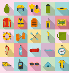 Rafting kayak water canoe icons set flat style vector