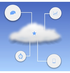 Realistic cloud with elements of infographics vector