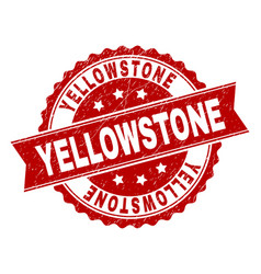 Scratched textured yellowstone stamp seal vector