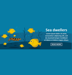 Sea dwellers banner horizontal concept vector