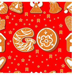 seamless pattern gingerbread alphabet vector image