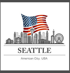seattle city skyline detailed silhouette on usa vector image