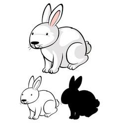 Set bunny cartoon vector