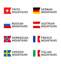 set logotypes templates for tours to mountains vector image