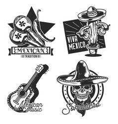 set mexican emblems labels badges logos vector image